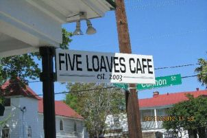 Sign for Five Loaves Cafe Charleston