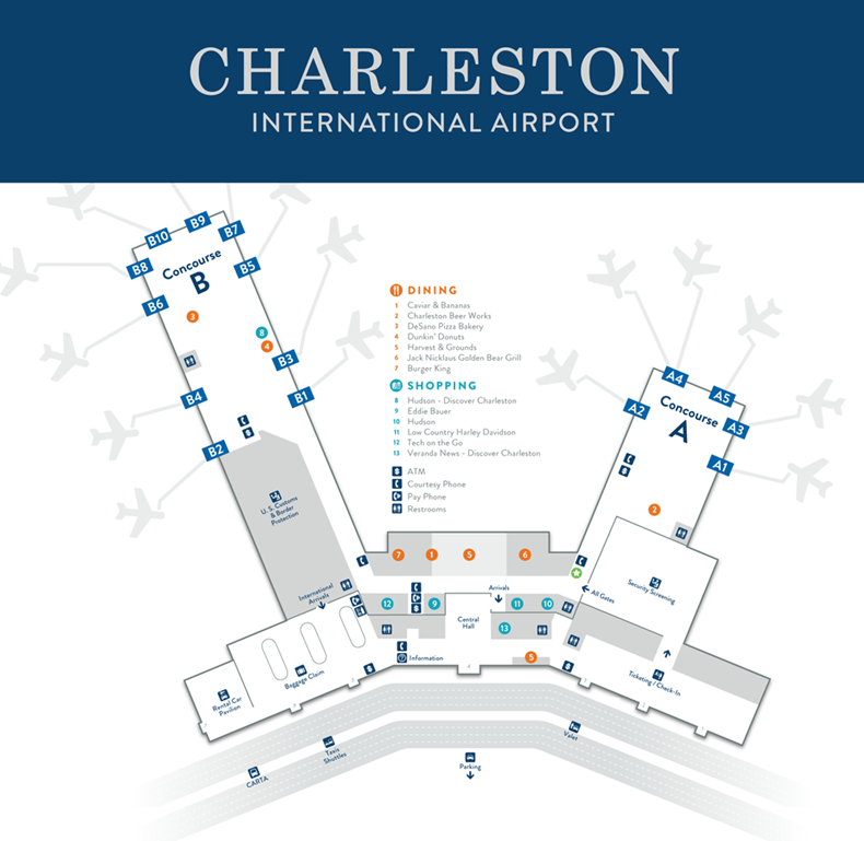 Charleston International Airport Map