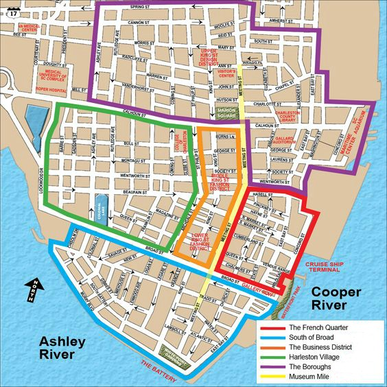 Map of the five neighborhoods of Charleston SC