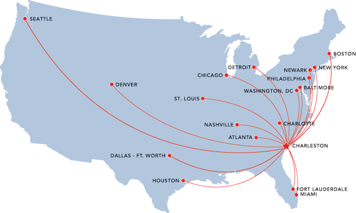 Charleston Airlines Map